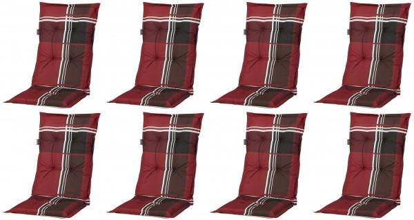 8x A023 Hochlehner Gartenstuhl Auflagen 120x50x8cm rot kariert