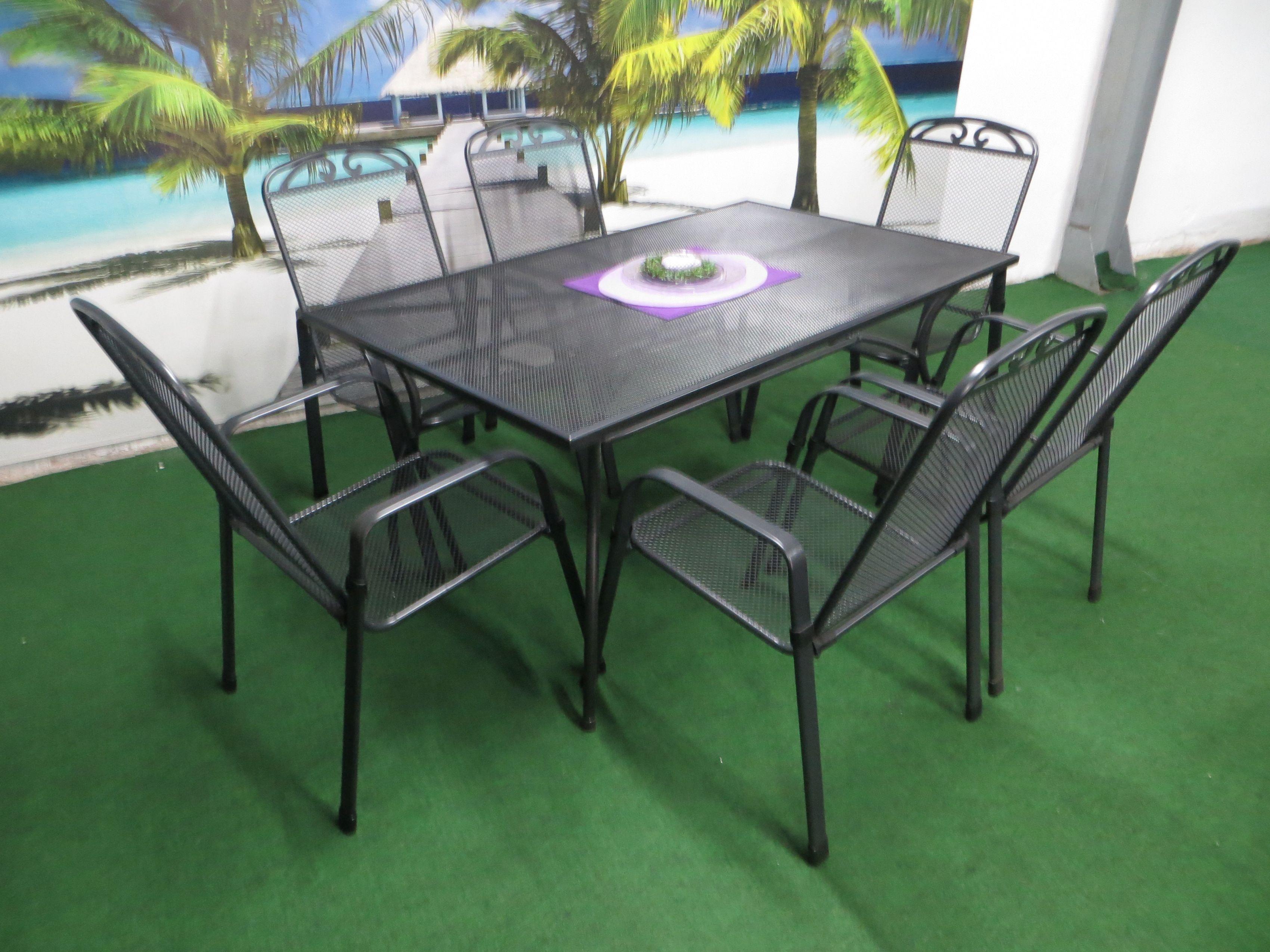 p22 streckmetall gartenm bel set 150x90cm 7 teilig grau. Black Bedroom Furniture Sets. Home Design Ideas