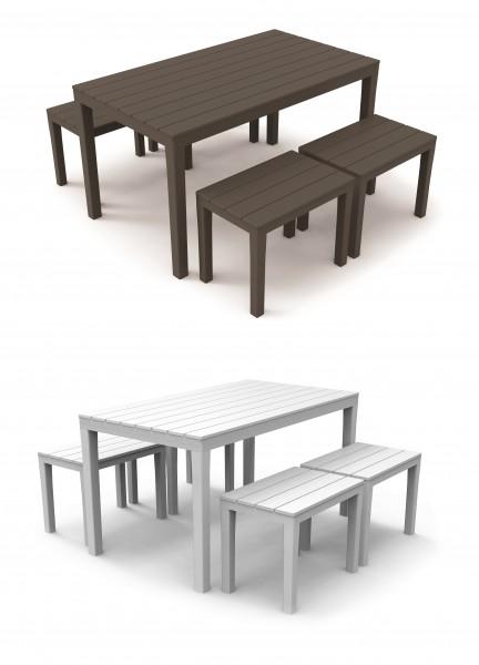 SAMOA Kunststoff Gartenmöbel Set Holz-Optik 5tlg Sitzgarnitur