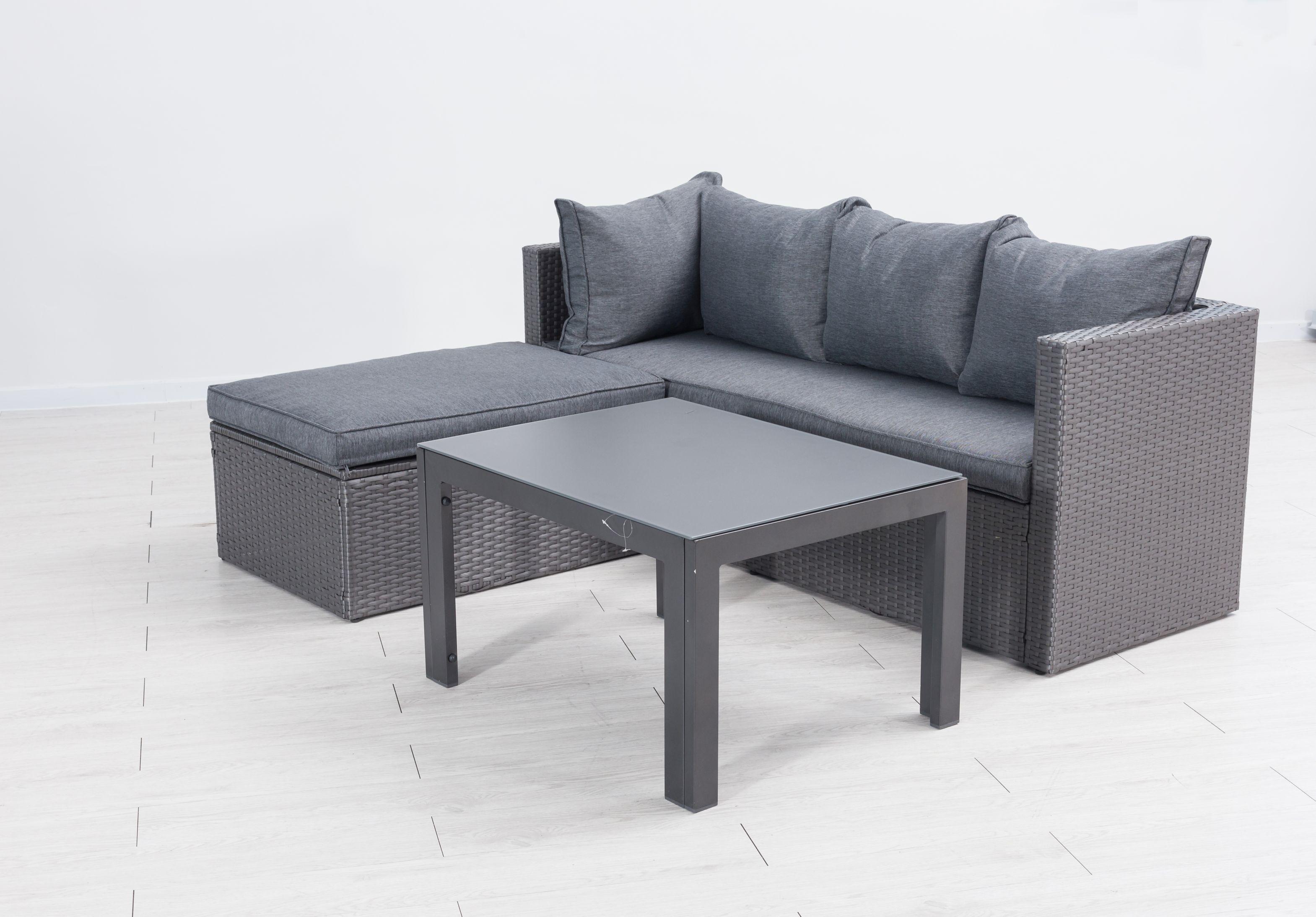 Mora Polyrattan Ecklounge Gartenmöbel Sitzgruppe Grau Lounge Möbel