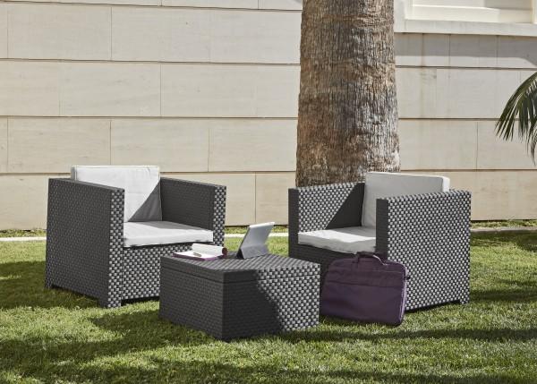 TETE A TETE Gartenmöbel Balkon Lounge Rattan-Optik anthrazit