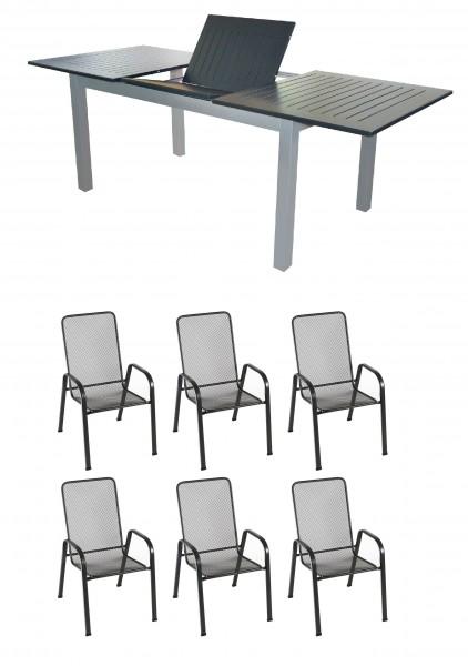 KUPANG Alu Gartenmöbel Set Sitzgarnitur, 7-tlg, anthrazit / silber