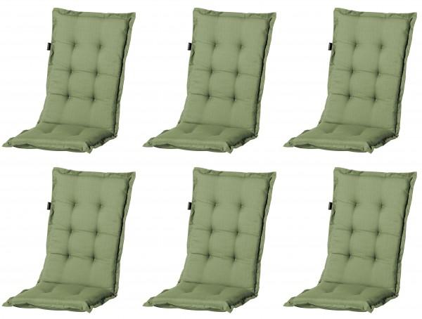 6x A044 Hochlehner Gartenstuhl Auflagen 120x50x8cm grün uni