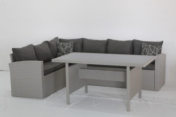 MILOS Polyrattan Ecklounge Gartenmöbel Sitzgruppe - grau