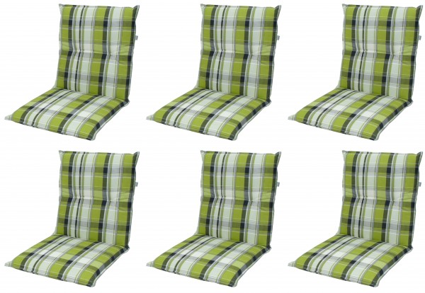 6x 5336 Niederlehner Gartenstuhl Auflage 7cm niedrig grün karo