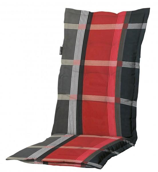 B253 Hochlehner Gartenstuhl Auflagen 120x50x8cm rot kariert