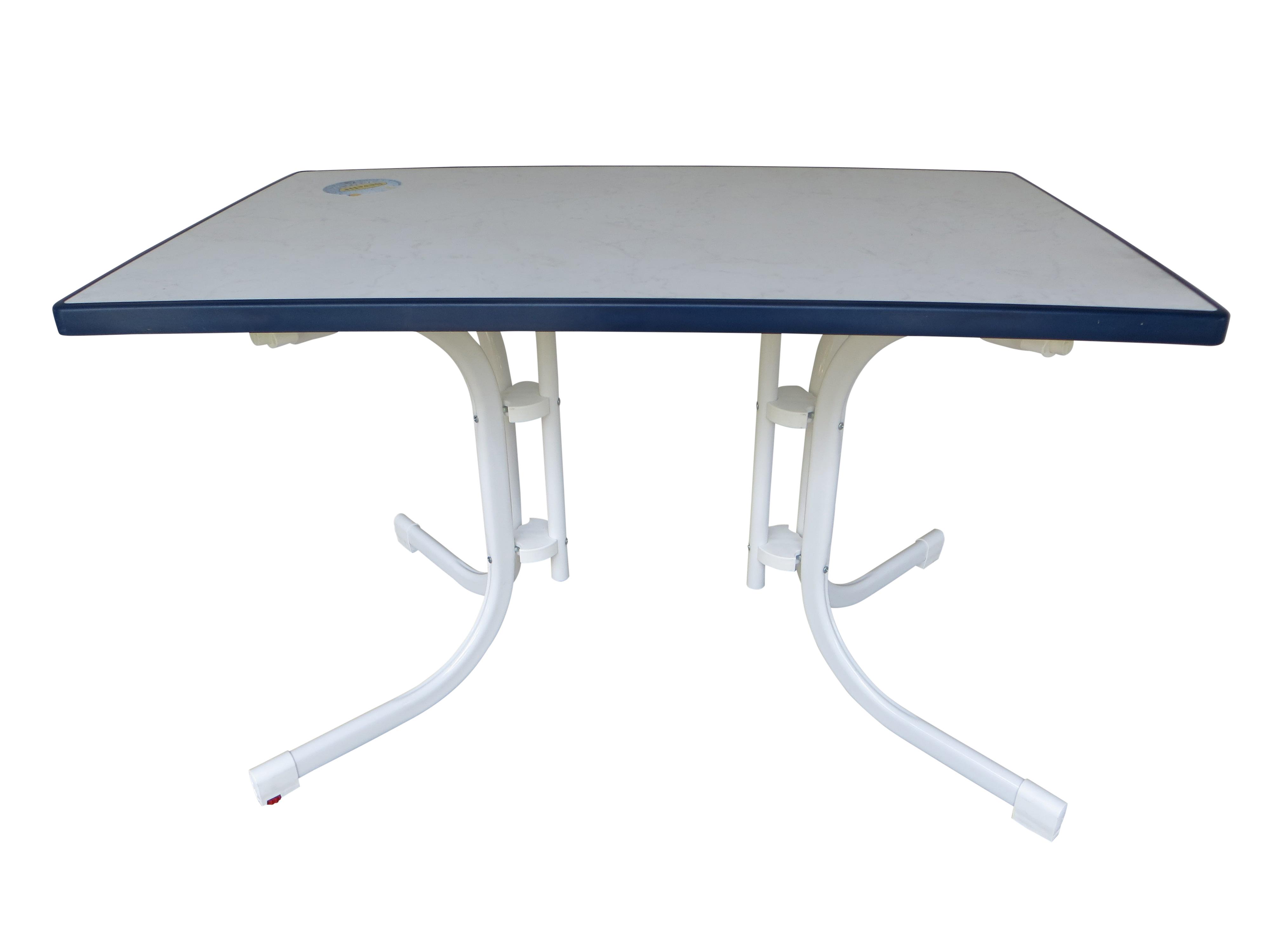 Klapptisch Gartentisch 115x70 Cm Balkontisch Weiss Blau 71