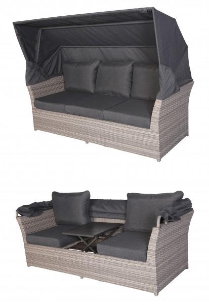 KOS Polyrattan Gartenmöbel Lounge Sofa Bank mit Dach & Tisch