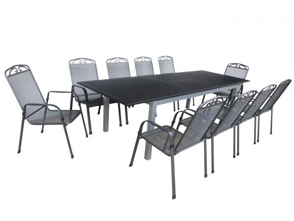 CIMAHI Alu Gartenmöbel Set Sitzgarnitur, 11tlg, anthrazit / silber