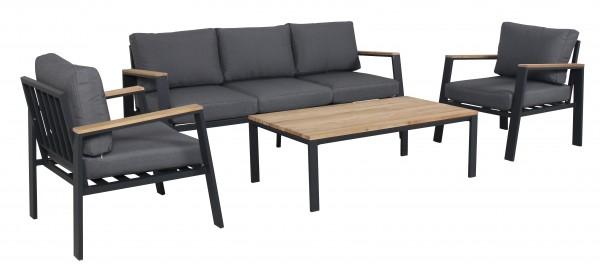 DENVER Alu Lounge Set Holz Gartenmöbel Sitzgruppe Teak