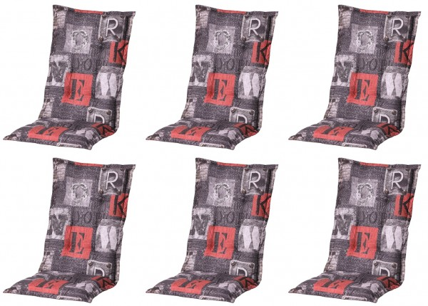 6x B319 Hochlehner Gartenstuhl Auflagen 120x50x8cm grau rot