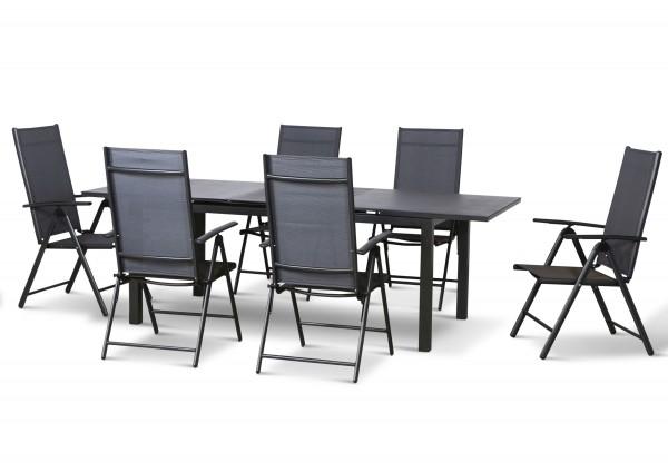 EL PASO Alu Sitzgruppe Gartenmöbel Set,7tlg, anthrazit