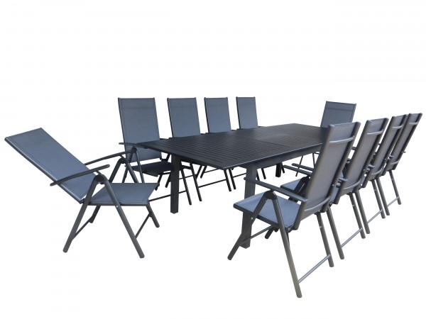 KALKUTTA Alu Gartenmöbel Set Sitzgarnitur, 11tlg, anthrazit