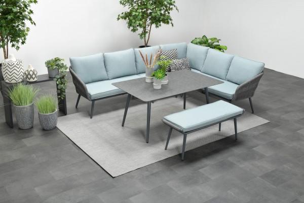 DAVIS Rope Alu Lounge Set Gartenmöbel Sitzgruppe grau