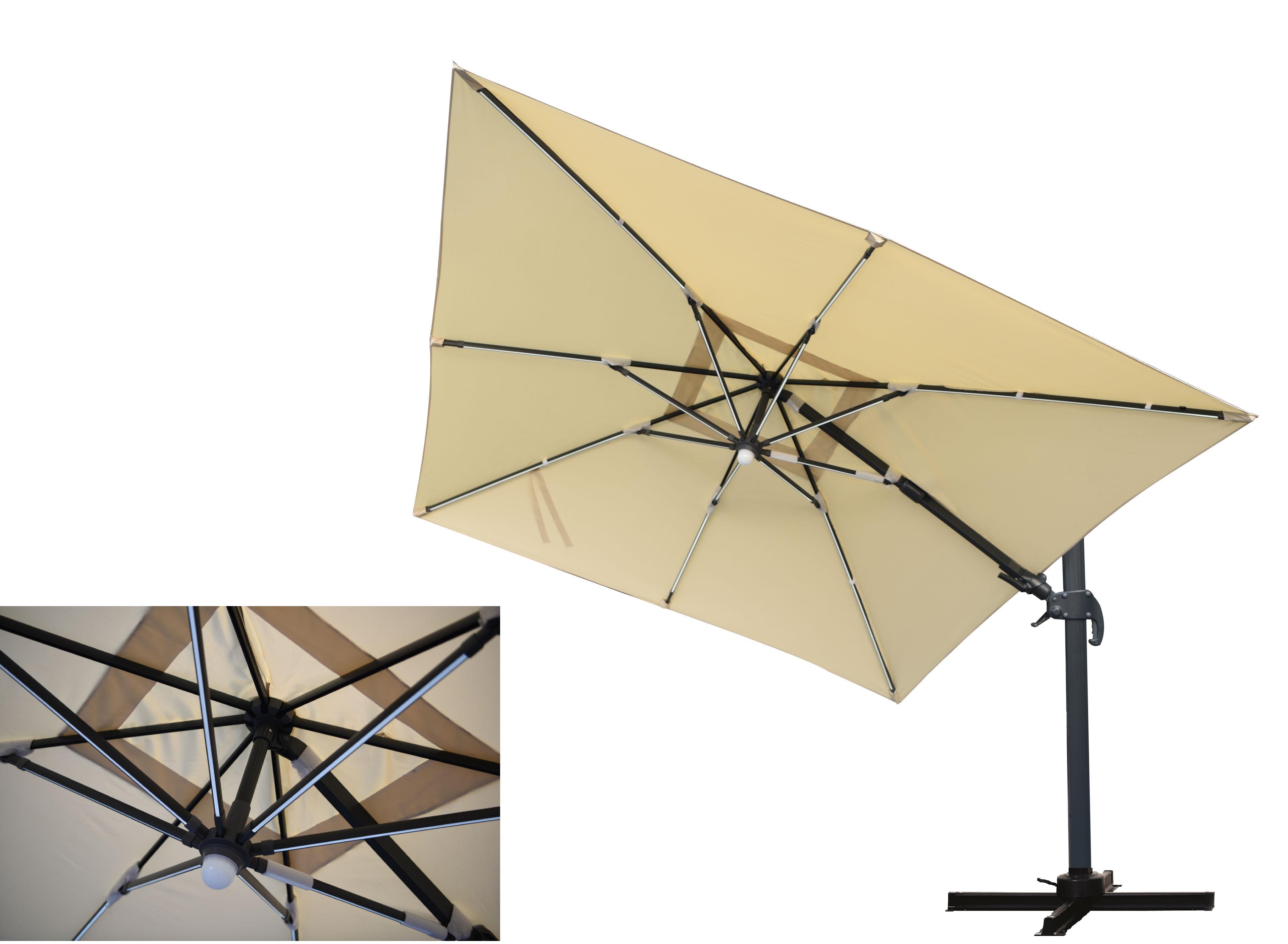 MOONLIGHT Ampelschirm 300x300cm mit LED Licht natur Sonnenschirme Sonnenschutz Garten