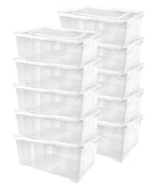 10er-Set Schuhboxen Kunststoffbox mit Deckel und Belüftung