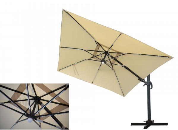 MOONLIGHT Ampelschirm 300x300cm mit LED-Licht - natur