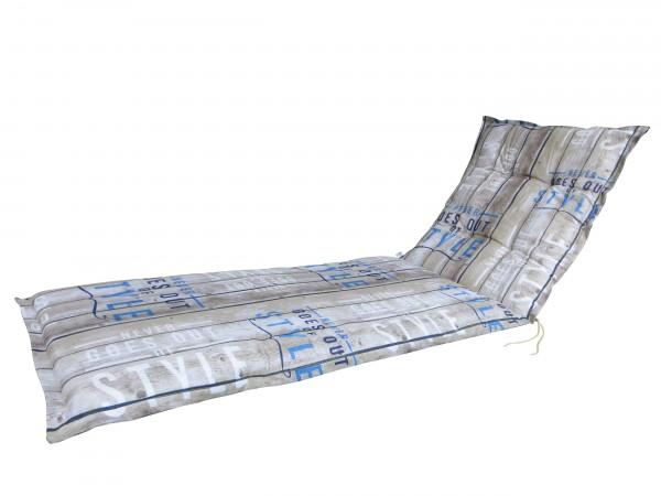 C306 Rollliegenauflage Gartenliege 190x60x8cm taupe gestreift