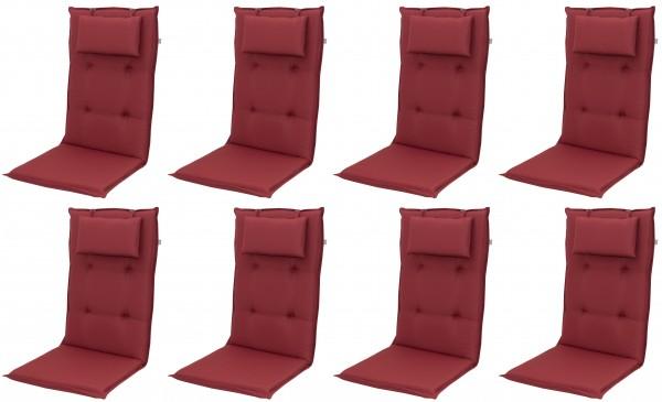 8x 8833 Hochlehner Gartenstuhl Auflagen 8cm Kopfkissen rot