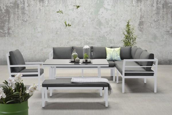 BLAKES XL Alu Ecklounge Gartenmöbel Sitzgruppe rechts weiß