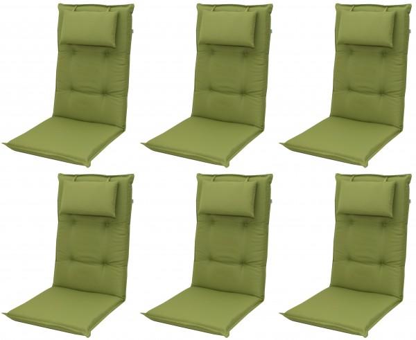 6x 7836 Hochlehner Gartenstuhl Auflagen 8cm Kopfkissen grün