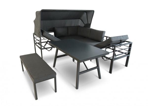 NEWPORT Alu Ecklounge Gartenmöbel Sitzgruppe Dach grau