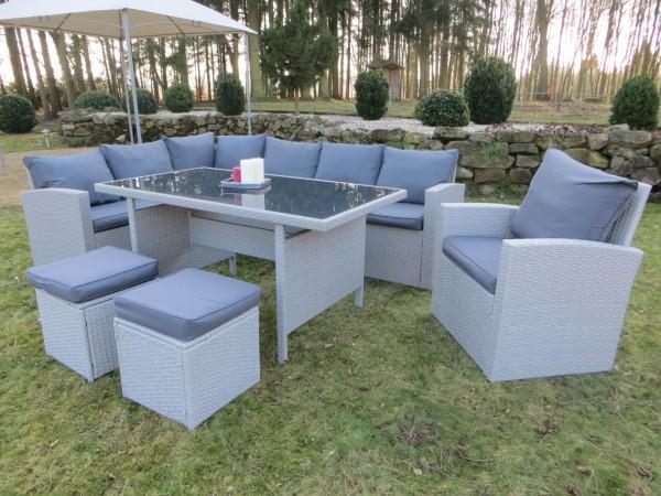 MILOS-XL Polyrattan Ecklounge Gartenmöbel Sitzgruppe - grau ...