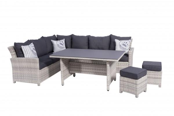 PARLA Polyrattan Ecklounge Gartenmöbel Sitzgruppe weiß-grau | Lounge ...