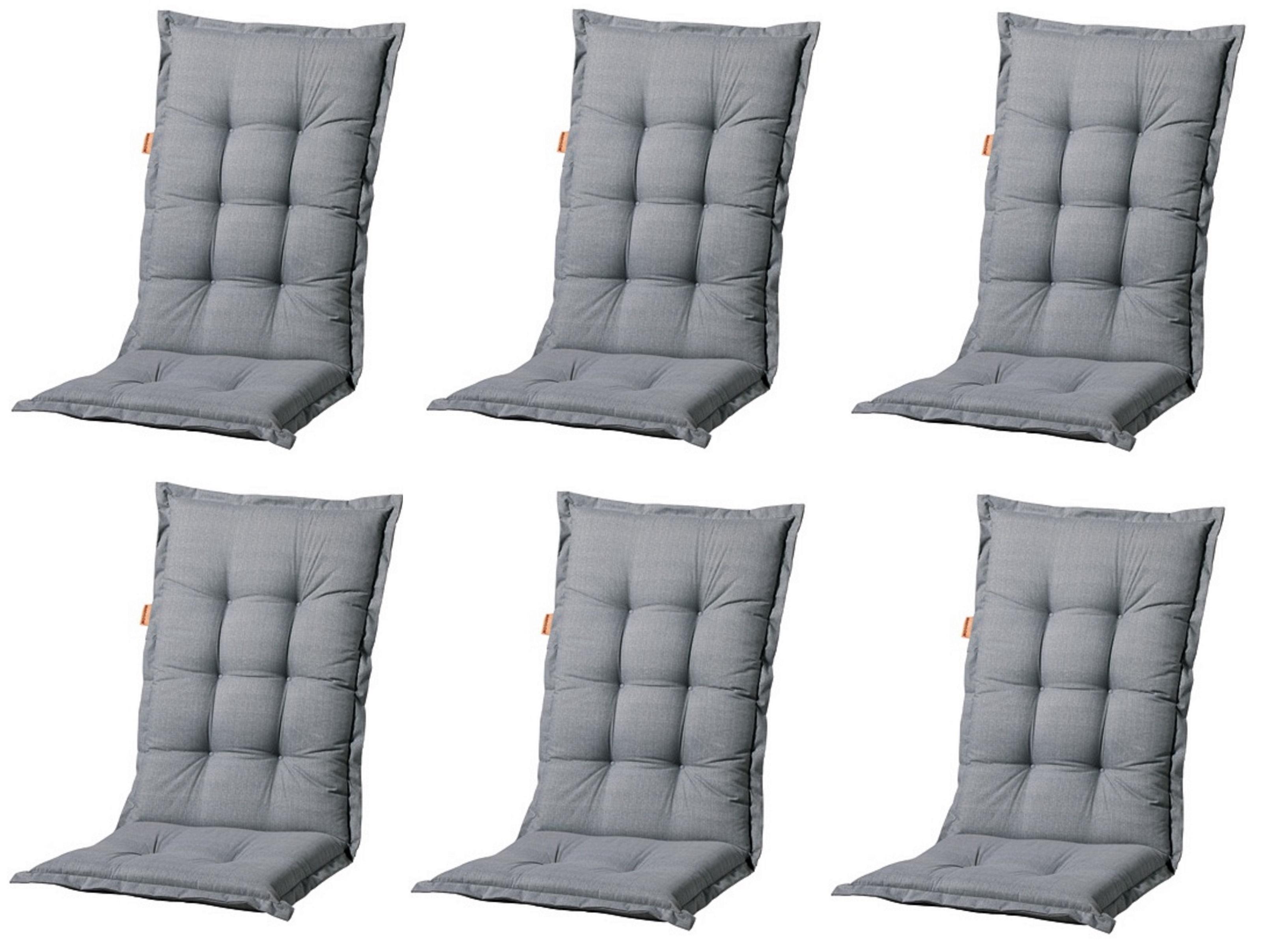 Vorschau 6x A046 Hochlehner Gartenstuhl Auflagen 120x50x8cm Grau Uni