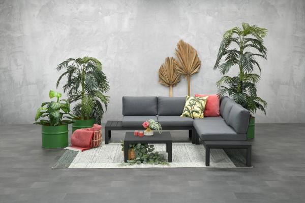 ADELAIDE Alu Ecklounge Gartenmöbel Sitzgruppe grau