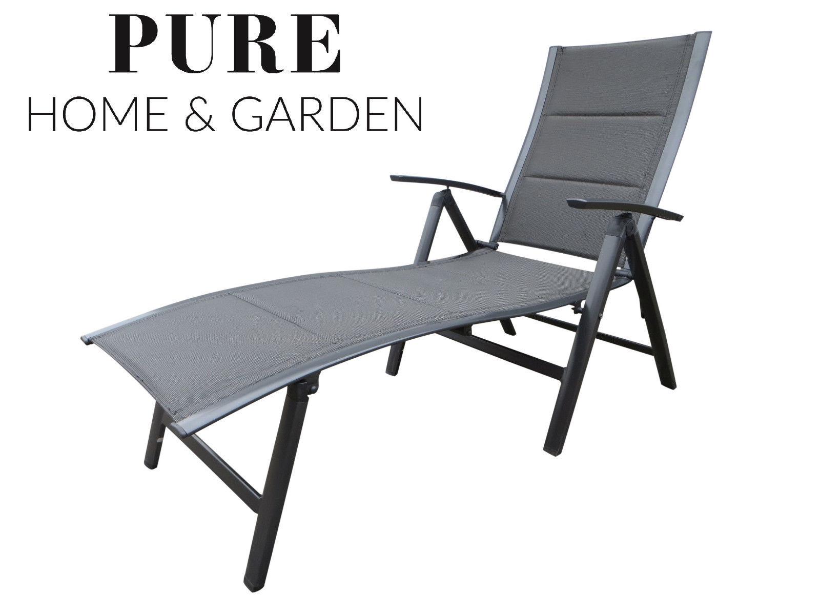 nox padded alu sonnenliege klappliege anthrazit mixed taupe gartenliegen garten. Black Bedroom Furniture Sets. Home Design Ideas