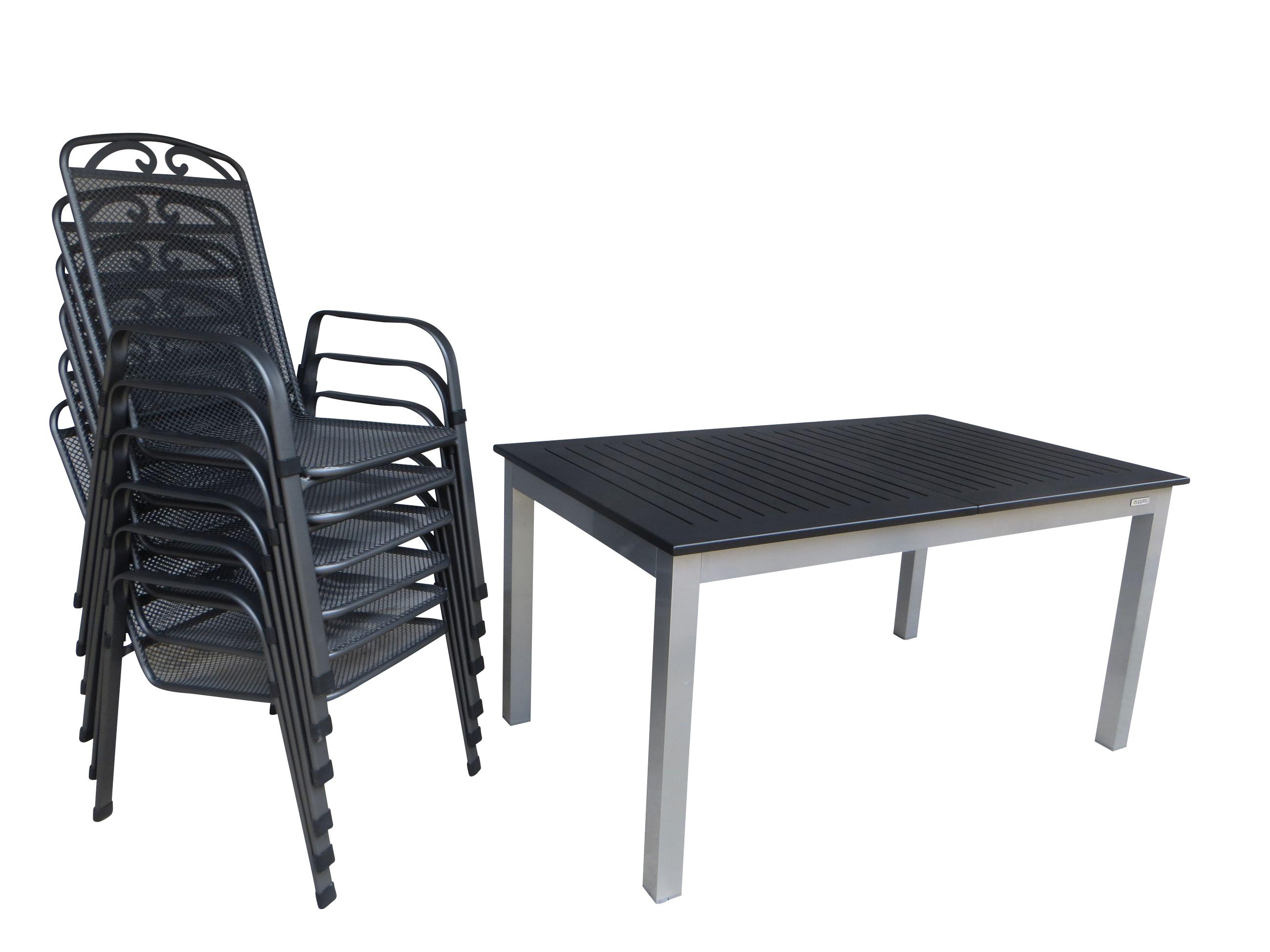 kupang alu gartenm bel set sitzgarnitur 7 tlg anthrazit silber gartenm bel gruppen. Black Bedroom Furniture Sets. Home Design Ideas