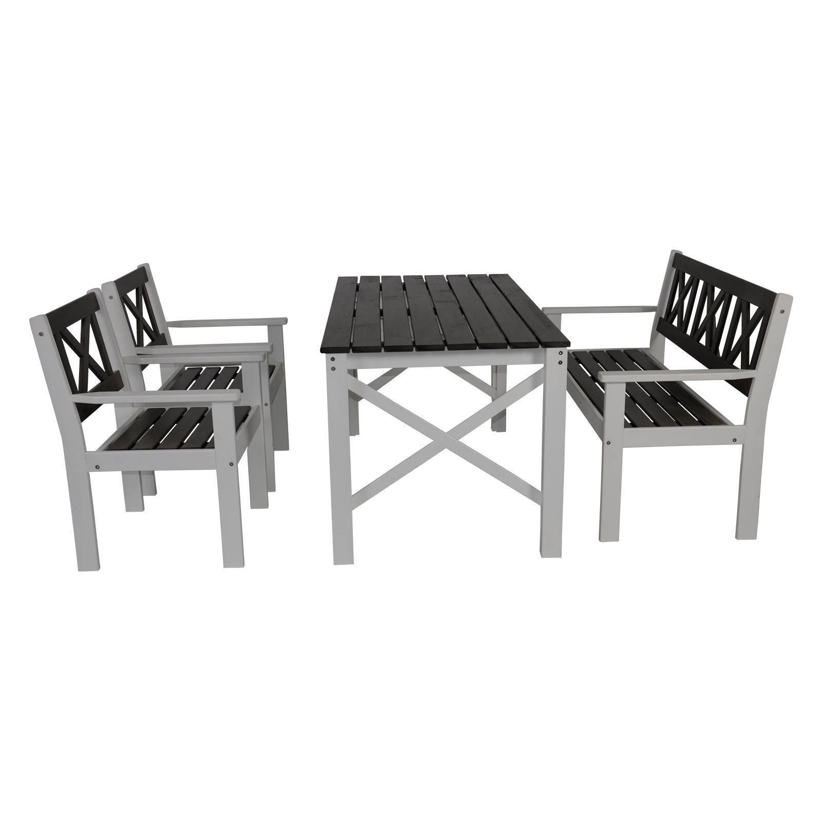 Tapa Holzmöbel Gartenmöbel Set Aus Kiefernholz 4tlg Grau Weiß
