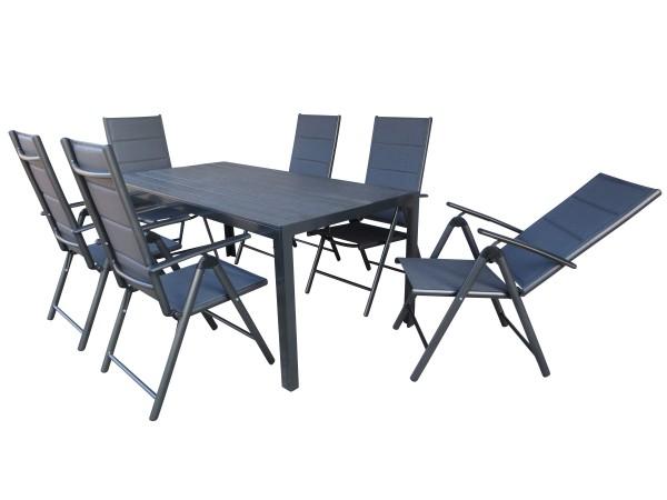 BURN PADDED XL Alu Gartenmöbel Set Sitzgarnitur anthrazit