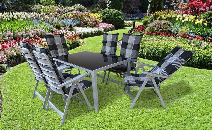pisa alu gartenm bel set sitzgarnitur 13 teilig silber gartenm bel gruppen garten. Black Bedroom Furniture Sets. Home Design Ideas