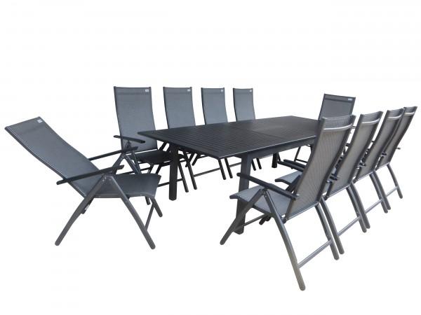 JAIPUR Alu Gartenmöbel Set Sitzgarnitur, 11tlg, anthrazit/schwarz