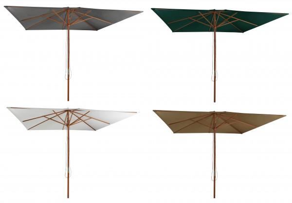 ODUN Holz Sonnenschirm 300x300cm Gartenschirm mit Seilzug