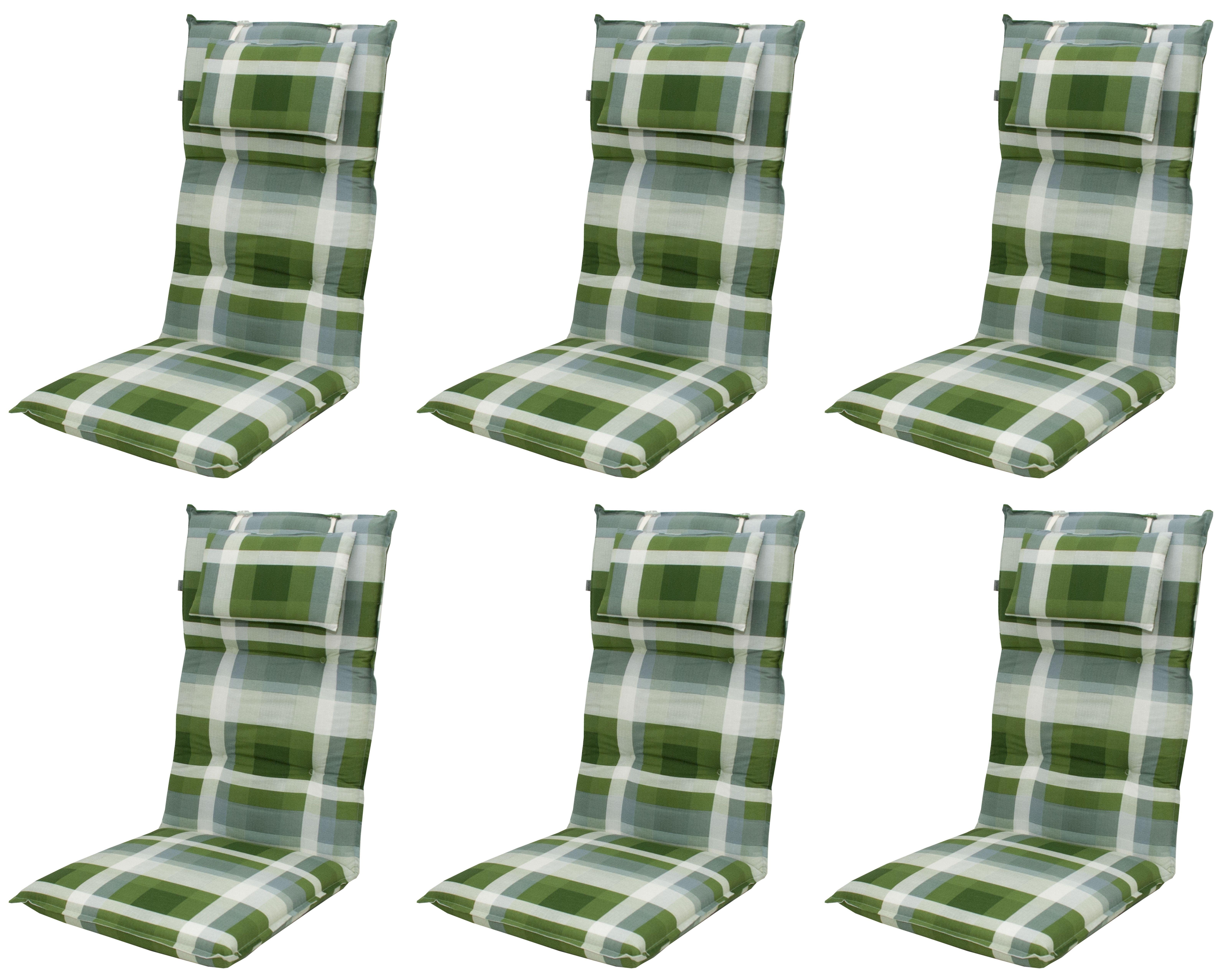 6x 8606 hochlehner gartenstuhl auflagen 8cm kopfkissen gr n f r st hle mit hoher lehne. Black Bedroom Furniture Sets. Home Design Ideas
