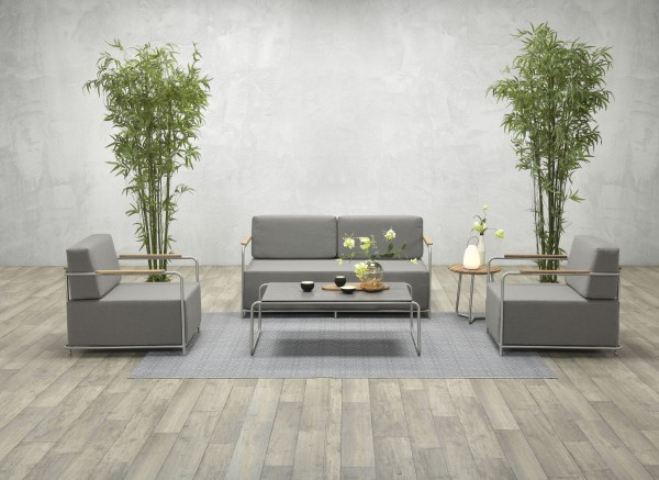 LORCARNO Edelstahl Lounge Gartenmöbel Sitzgruppe grau