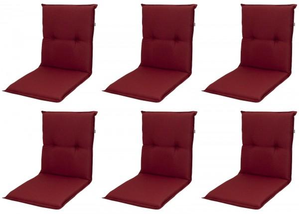 6x 8833 Niederlehner Gartenstuhl Auflage 8cm niedrig rot uni