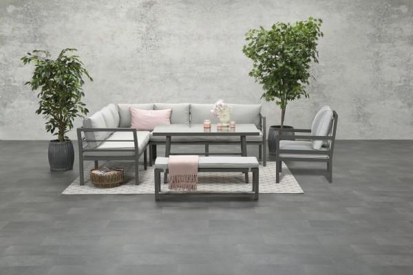BLAKES XL Alu Ecklounge Gartenmöbel Sitzgruppe links braun