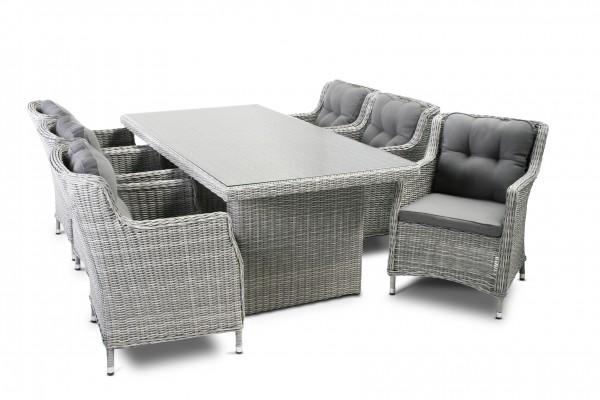 HARVARD Polyrattan Gartenmöbel Lounge Set Sitzgarnitur - grau