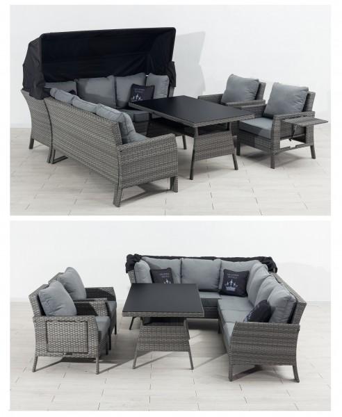 GENUA Ecklounge Polyrattan Garten Lounge Set mit Dach grau