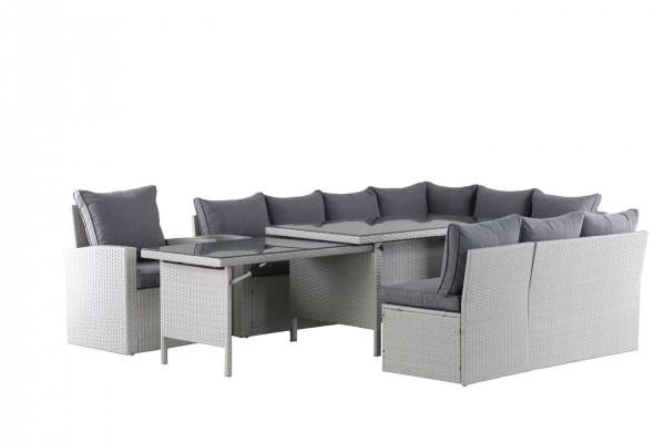 WOW XXL Polyrattan Ecklounge Gartenmöbel Sitzecke rechts grau