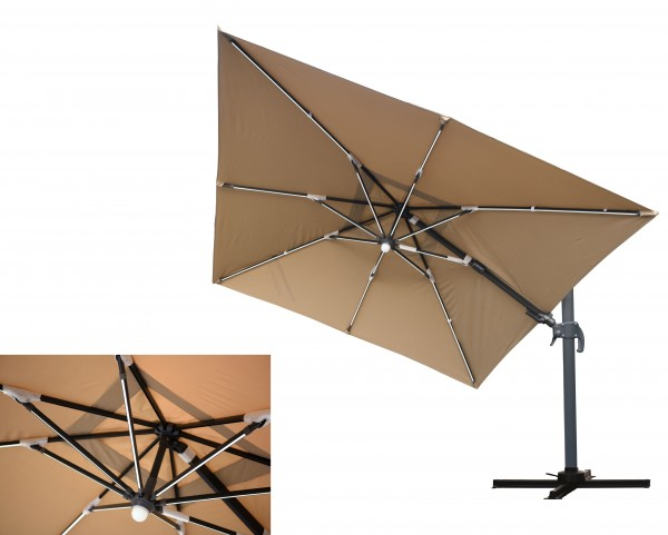 MOONLIGHT Ampelschirm 300x300cm mit LED-Licht - taupe