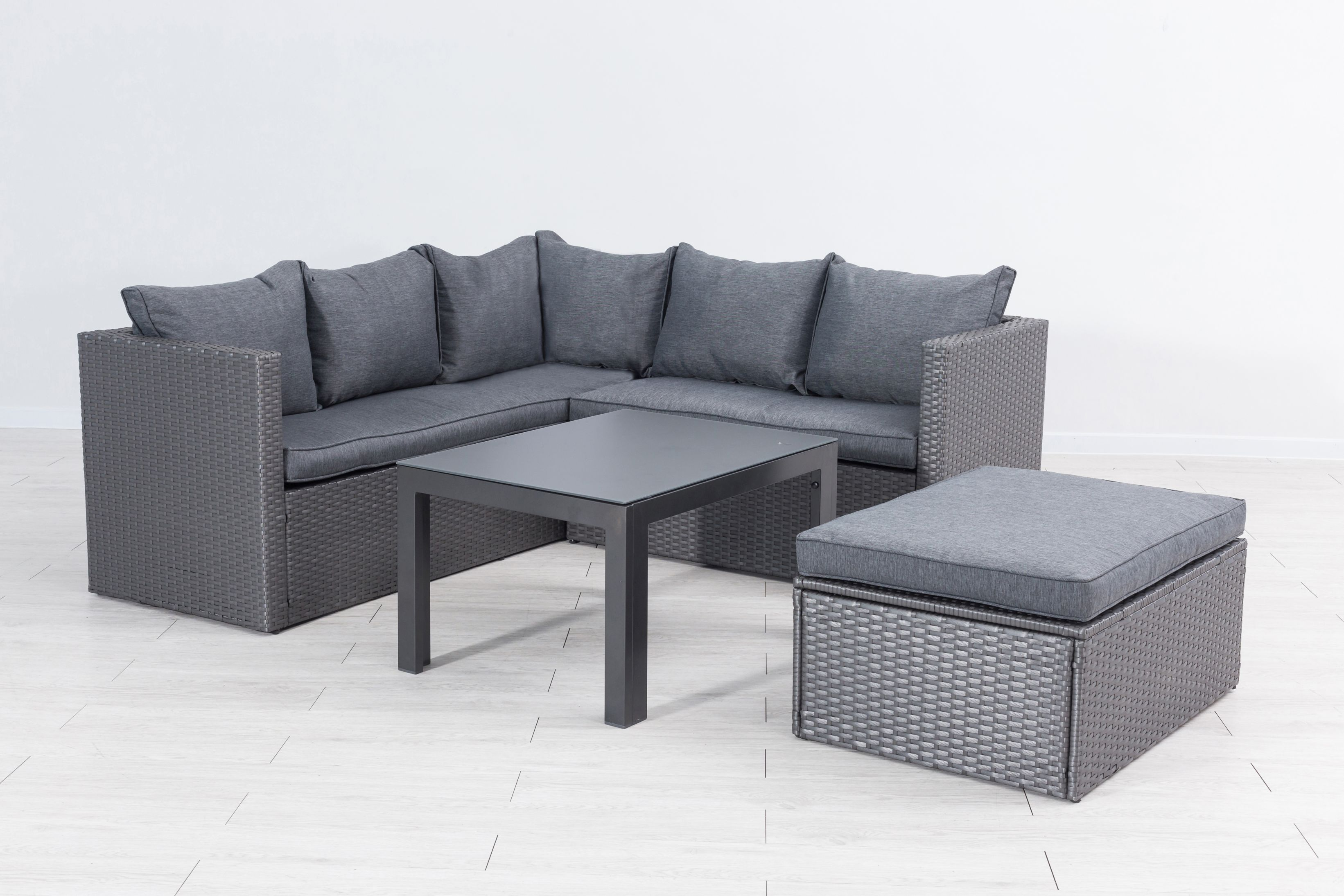 mora polyrattan ecklounge gartenm bel sitzgruppe grau. Black Bedroom Furniture Sets. Home Design Ideas