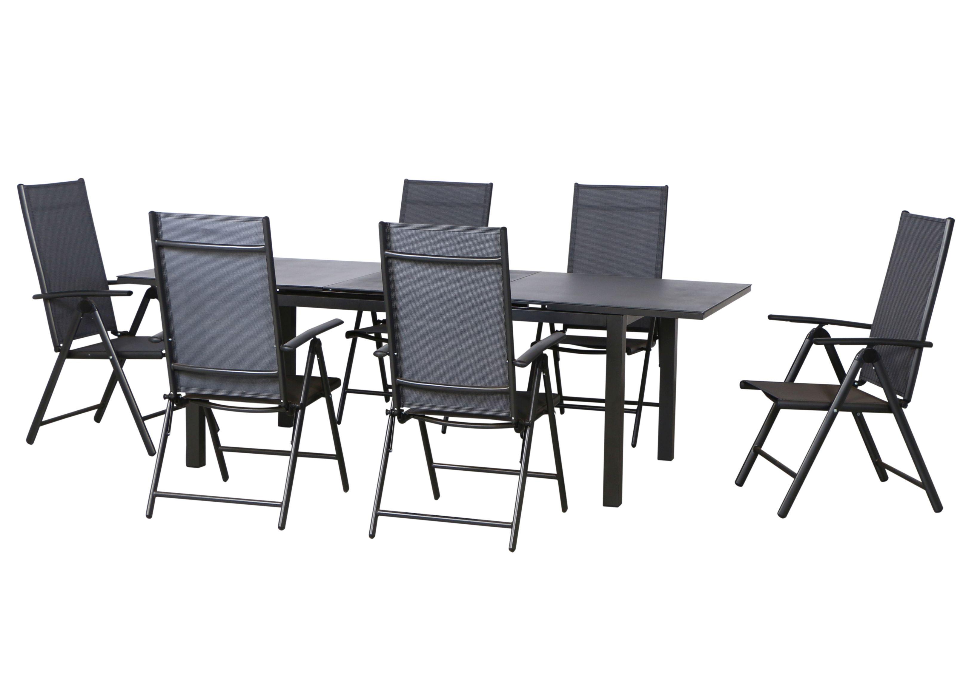 el paso alu sitzgruppe gartenm bel set 7tlg anthrazit. Black Bedroom Furniture Sets. Home Design Ideas