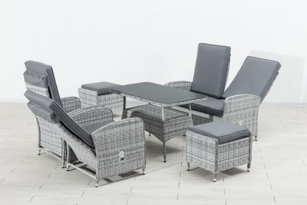 FIORA Polyrattan Lounge Gartenmöbel Sitzgruppe grau
