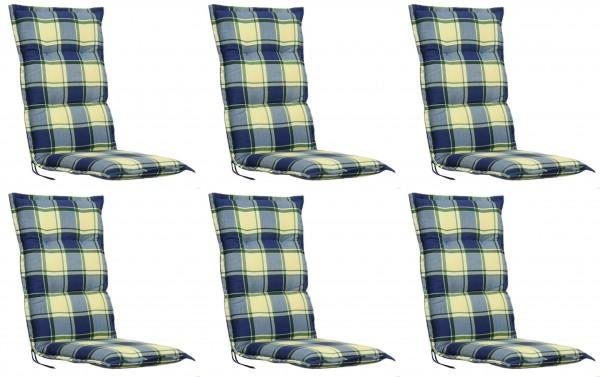 6x FLORENCE 2163 Hochlehner Gartenstuhl Auflagen 8cm blau gelb