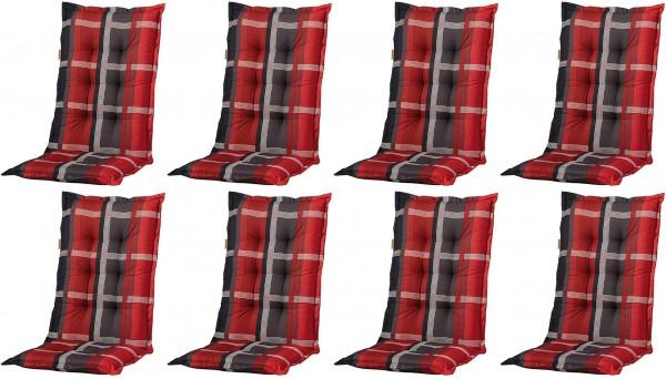 8x B253 Hochlehner Gartenstuhl Auflagen 120x50x8cm rot kariert